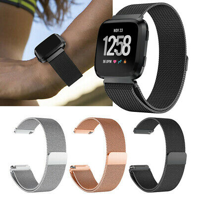$ CDN9.77 • Buy Lock Split Sport Fit Bit For Fitbit Versa Strap Steel Loop Milanese Band Magnet
