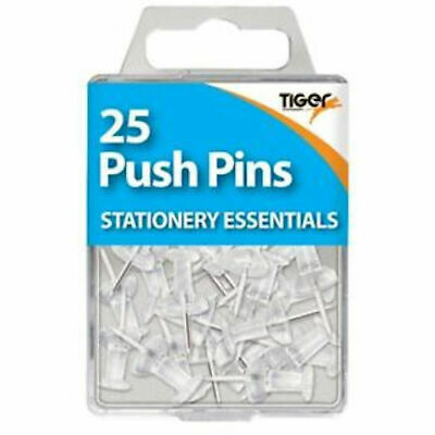 25 Pack Push Pins Clear - School Office Cork Board Notice Art Craft Drawing Map • 2.19£