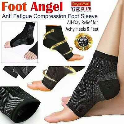 2 X Compression Socks Heel Foot Arch Pain Relief Plantar Fasciitis Support Pair • 2.99£