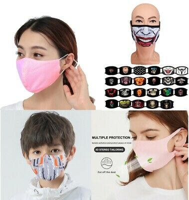 Reusable Washable Cotton Face Covering Mask Double Triple Layer Adults Kids • 4.29£