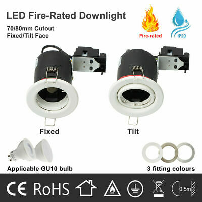 Fire Rated Fixed/Tilt LED Downlights GU10 Recessed Ceiling Kitchen Spotlights  • 4.99£