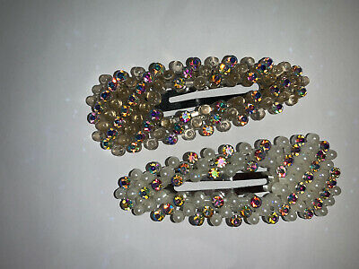 New Pearl Hair Clips Sparkly Trendy Party Fancy Diamond Pearls Hair Accessories • 6£