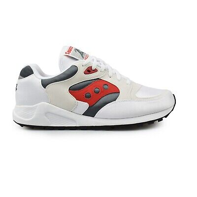 Saucony Jazz 4000 White Grey Red Classic Mens Trainers New On Sale RRP £80 • 67.95£