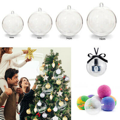 5-100Pcs Craft Fillable Ball Acrylic Clear Christmas Baubles Balls Tree Ornament • 6.54£