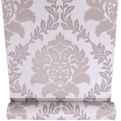 Taupe Brown Grey Mix Cream Damask Glitter Textured Vinyl Wallpaper Paste Wall  • 7.95£