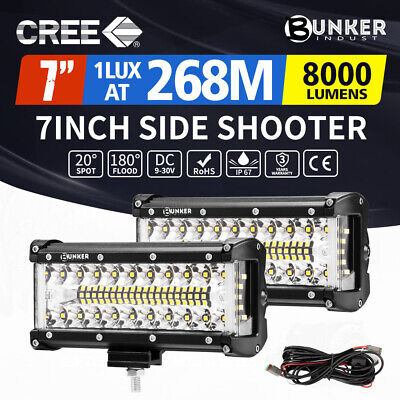 AU59.95 • Buy 2x 7inch CREE LED Light Bar Side Shooter Pods Combo Beam Work Driving OffRoad
