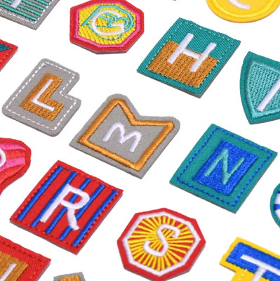 £0.99 • Buy Shaped Letter Patches Iron On Sew On Alphabet Tessel Embroidered Kids Fun Patch