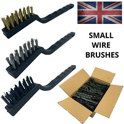 Small Wire Brush Set Steel Brass Nylon Bristle Mini Rust Removal Cleaning Tool • 1.79£