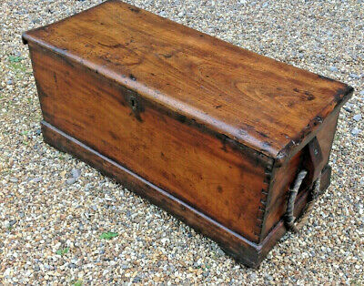 Antique Camphor Wood Sea Chest, Sailors,low Table With Original Rope Handles • 1,100£