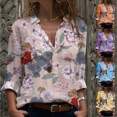 Plus Size Womens V Neck Floral Long Sleeve T-shirt Ladies Loose Tee Tops Blouse • 8.66£