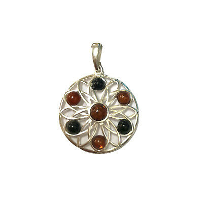 £33 • Buy Whitby Jet And Baltic Amber In 925 Sterling Silver Pendant Flower Design