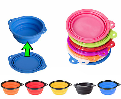 Pet Dog Water Feeding Bowl Silicone Travel Camp Play Disc Collapsible Portable  • 2.95£