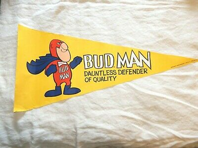 $ CDN42.18 • Buy Vintage Advertising Sign Pennant Budweiser Bud Man Dauntless Defender