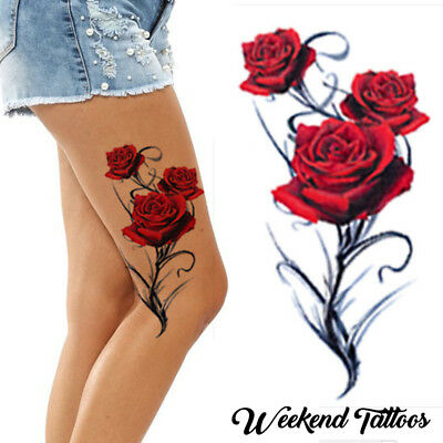Red Roses Flower Temporary Tattoos Stick On Women Body Art Transfer Waterproof • 3.09£