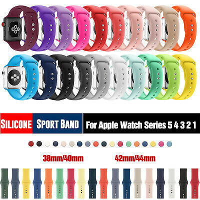 AU5.99 • Buy Silicone Sport IWatch Band Wrist Strap For Apple Watch Series 5/4/3/2/1 38/42mm