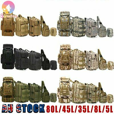 AU40.91 • Buy 8L/35L/45L/80L Tactical Outdoor Military Trekking Backpack Camping Hiking Bag