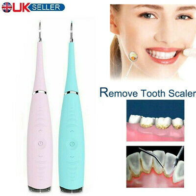 Electric Sonic Dental Scaler Plaque Tartar Calculus Remover Tooth Stains Tools • 8.99£