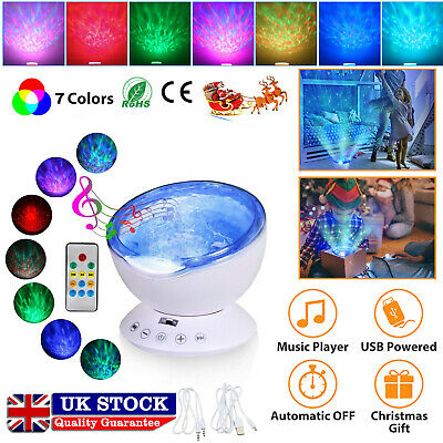 Relaxing Music LED Night Light Ocean Wave Projector Remote Lamp Baby Sleep Gift • 12.89£
