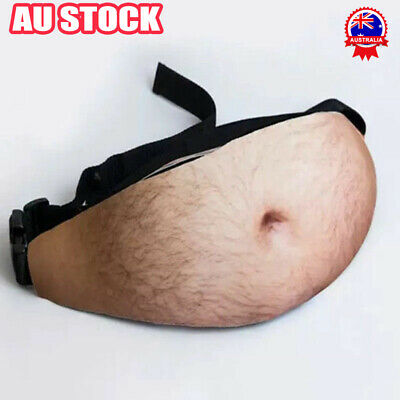 AU12.96 • Buy Men Pocket Belt Bags Pack Funny Lifelike 3D Hairy Beer Fat Belly Dad Bod Bum Bag
