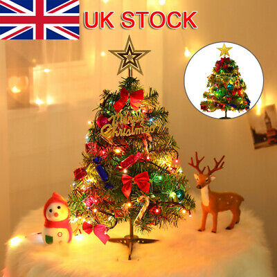 UK Tabletop Artificial Small Mini Christmas Tree With LED Lights Ornaments Xmas • 8.99£