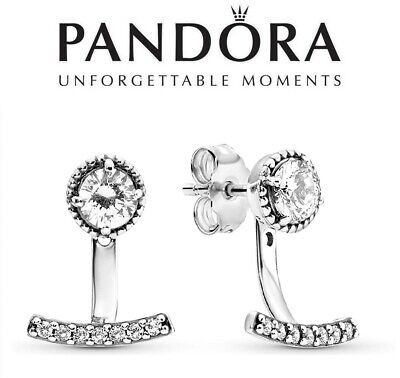 Pandora Silver Abstract Elegance Drop Stud Earrings 290743CZ Genuine • 34.99£