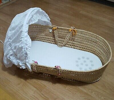 £29.99 • Buy Baby Sleeping Moses Basket Bed Crib Wicker Bassinet With Cover Hood + Mattress