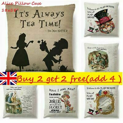 18x18'' Vintage Alice In Wonderland Linen Cushion Cover Cotton Linen Pillow Case • 4.78£