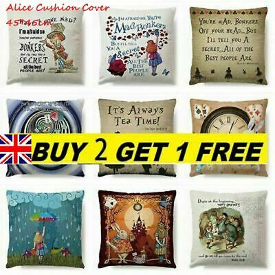 3D Alice In Wonderland Cotton Linen Cushion Cover Pillow Case Throw Home Cars • 4.29£