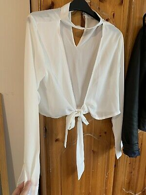 Womens White Choker Tie Front Crop Top Size 8 • 5.50£
