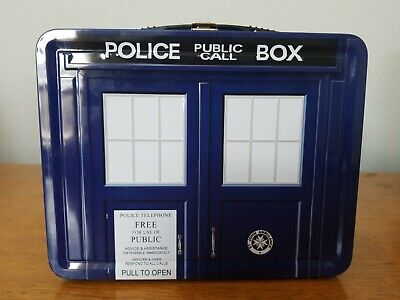 """£15.05 • Buy Dr. Who Tardis Tin Tote Lunch Box Police Public Call Box Collectible 9"""" X 7"""" X 4"""