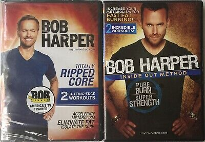 Bob Harper Totally Ripped Core SEALED + Inside Out Method OPENED Workout DVDs • 9.19£