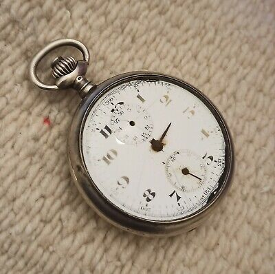 $ CDN170.05 • Buy Vintage Silver Anonymous Chronograph Swiss Pocket Watch For Repair Or Parts