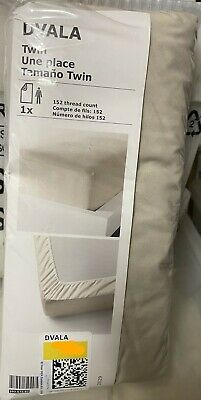 New Ikea DVALA Fitted Bed Sheet, 100% Cotton, Twin Size, Beige • 8.02£