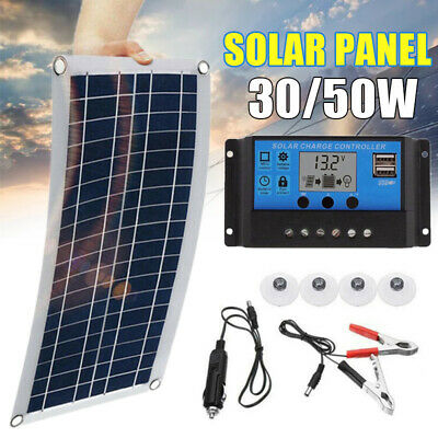 50w/30w 18V/5V Outdoor Dual USB Port Solar Panel Charger For Controller Battery~ • 18.99£