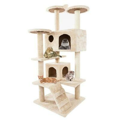 52  Cat Tree Climbing Tower Kitten Scratching Post Play House Condo Furniture • 43.99£