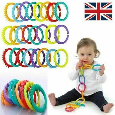 Rainbow Teether Ring Links Plastic Baby Kids Infant Stroller Play Mat Toys • 4.99£