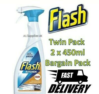 2 X Flash Kitchen Spray Degrease Effect Removes Grease Grime Citrus Scent 450ml  • 7.57£