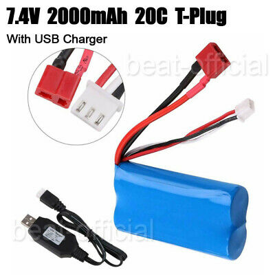 $ CDN19.23 • Buy 2s Lipo Battery 7.4V 2000mAh 20C T Plug Connector With USB Charger For RC Car