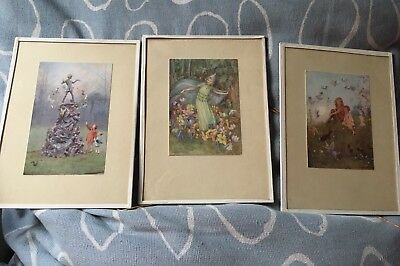 "3 Vintage Framed Margaret W Tarrant Prints Each Measure 8"" X 6"" Peter Pan, Fairy • 39£"