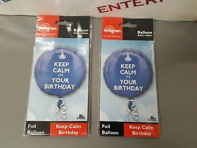 2 X Anagram Quality Keep Calm It's Your Birthday Foil Helium Balloons - Blue • 2.50£