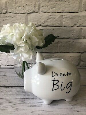 New - Pig Piggy Bank, Money Box Storage  'Dream Big' Holiday Fund, New Baby Gift • 6.99£