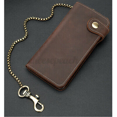 UK Long Genuine Leather Chain Wallet Business Motor Biker Purse Card Holder Gift • 14.54£