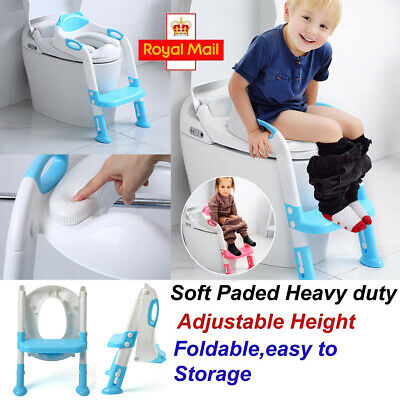 Childrens Toilet Seat Ladder Toddler Potty Training Step Up For Kids Easy Fold • 13.24£