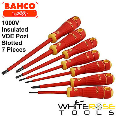 Bahco BahcoFit VDE Insulated Slotted Pozi Screwdriver Set 7pc 1000V • 43.65£
