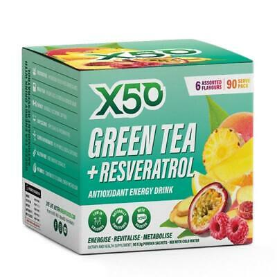 AU49.85 • Buy GREEN TEA X50 60 Serves 12 Flavours Antioxidant Energy Weight Loss Resveratrol
