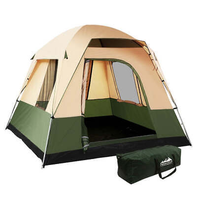 AU95.80 • Buy Weisshorn Family Camping Tent 4 Person Hiking Beach Tents Canvas Ripstop Green