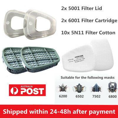 AU25.99 • Buy 6001CN Respirator Filter Cartridge / 5N11 Cotton / 501 Cover For 6800 6200 7502