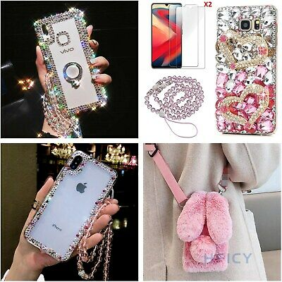 3D Women Bling Diamonds Case Phone Cover With 2 Tempered Films & Crystal Strap F • 8.99£