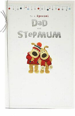 Dad And Stepmum Shiny Lettering Design Boofle Couple Christmas Card • 5.29£