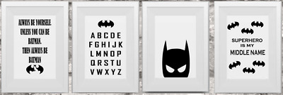 A4 Bat Man Prints Minimalist Wall Superhero Poster Quality Kids Childre Pictures • 2.99£